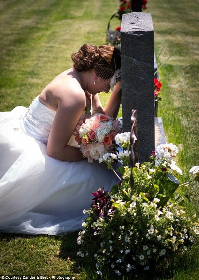 Lasting memory: Paige Eding, pictured, was so overcome with emotion standing by her father's grave on her wedding day, she crumbled to her knees