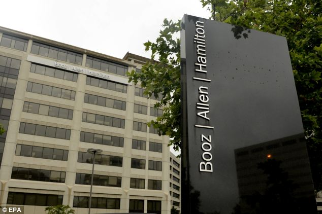 Workplace: He worked at Booz Allen Hamilton (Virginia HQ pictured) for three months before he fled