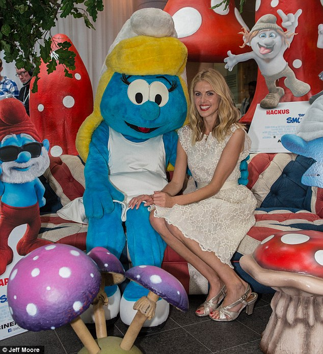 Back in Blighty: James Middleton's model girlfriend Donna Air celebrated Global Smurf Day at Westfield in London