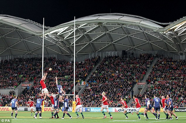 High hopes: Sean O'Brien rises to take lineout ball for the Lions