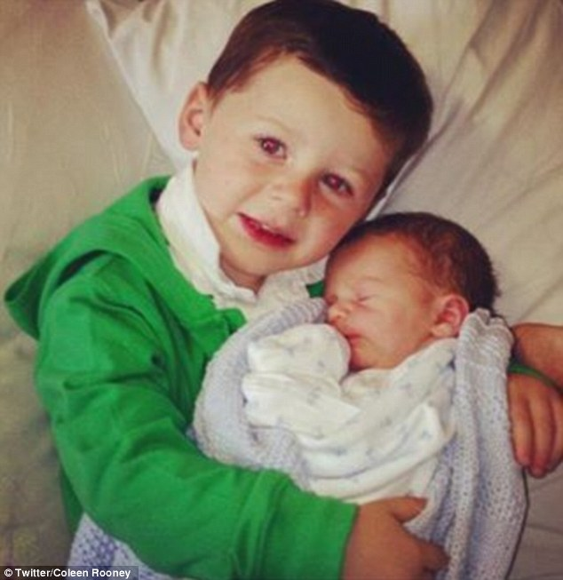 Best buddies: Klay is a little brother for the couple's three-year-old son, Kai
