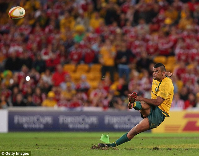 Slip, slap, flop: Australia's Kurtley Beale slips and fluffs his penalty attempt in the dying moments of last weekend's first Test in Brisbane