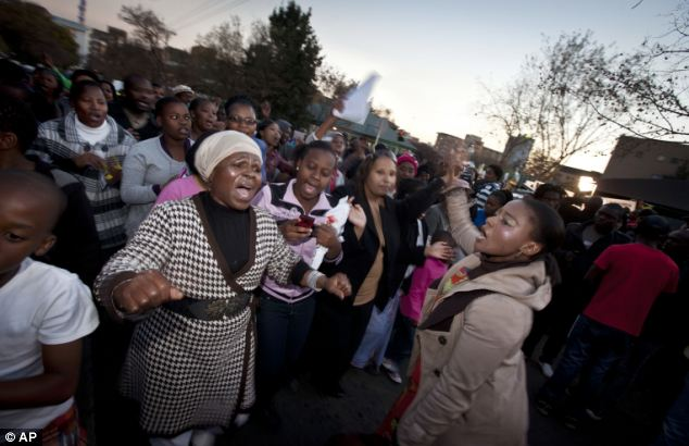 A community group from Pretoria sing hymns and songs outside the   Mediclinic Heart Hospital