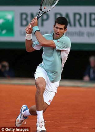 Style choices: The green on the Serbian's Australian Open kit, left, was used to 'highlight awareness for ecological and environmental causes' while the colour of his French Open polo shirt, right, was chosen so he would stand out against the clay