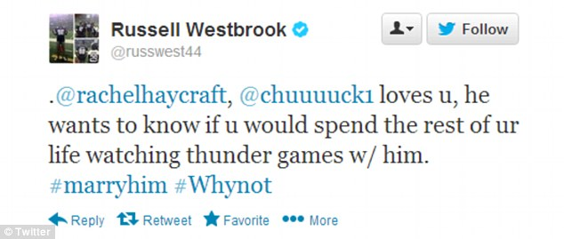 Perfect timing: Mr Westbrook said he would tweet the proposal at exactly 4.30pm on Friday, when Mr Bright would have his unassuming girlfriend at the north gate of Gaylord Memorial Stadium, under the clock tower