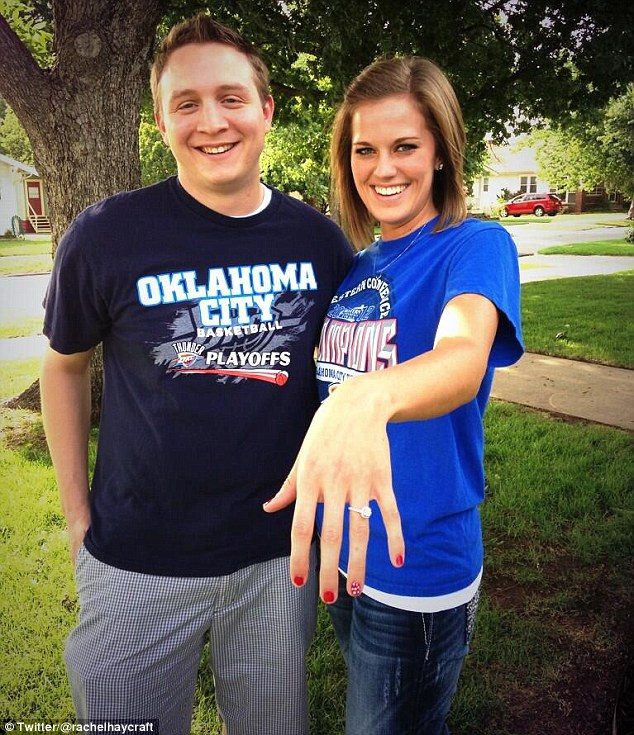 Well courted: NBA star Russell Westbrook helped Chris Bright (left) pop the question to his basketball-obsessed girlfriend Rachel Haycraft (right) over Twitter