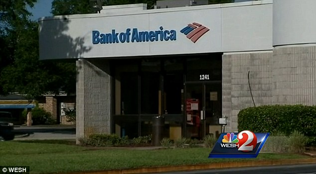 Crime scene: The attempted robbery played out outside this Bank of America branch on Normandy Boulevard in Deltona, Florida