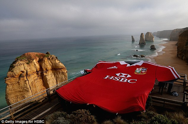 Tourists: A giant British & Irish Lions shirt is seen at the 12 Apostles in Melbourne