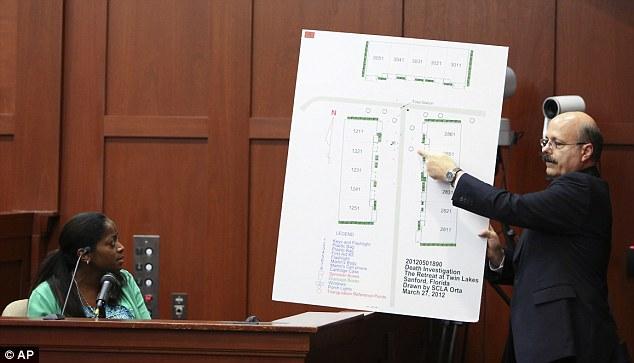 Under pressure: Assistant state attorney Bernie de la Rionda, right, questions witness Selene Bahadoor, left, during Zimmerman's trial i