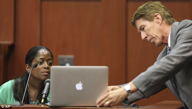 On the stand: Defense attorney Mark O'Mara has state witness Selene Bahadoor read from her Facebook page while testifying