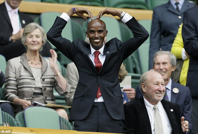 Olympic hero: Double gold medalist Mo Farah is in the Royal Box at Wimbledon