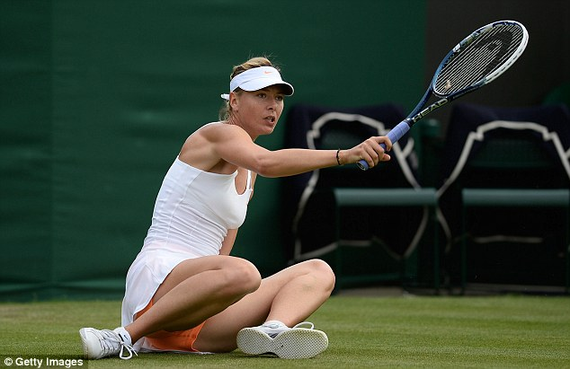 Slipping out? Maria Sharapova was critical of the turf on Court 2