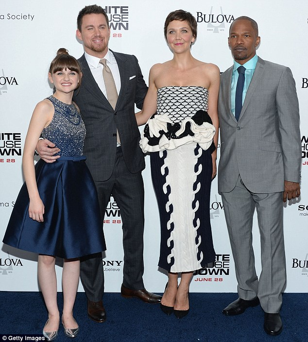 Cool co-stars: She was joined by Joey King, Channing Tatum and Jamie Foxx at the event