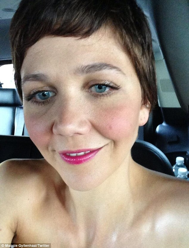 Just flesh! Maggie joked that she was naked in the car on the way to the premiere on Twitter