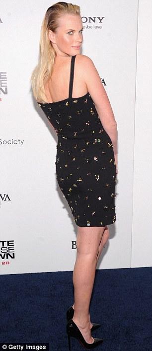 Stunning star: Model Anne V rocked a black mini dress at the movie gathering