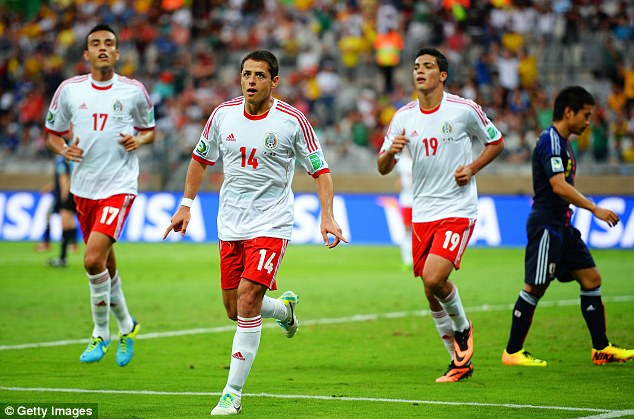 Javier Hernandez celebrates one of his two goals against Japan in the FIFA Confederations Cup in Brazil