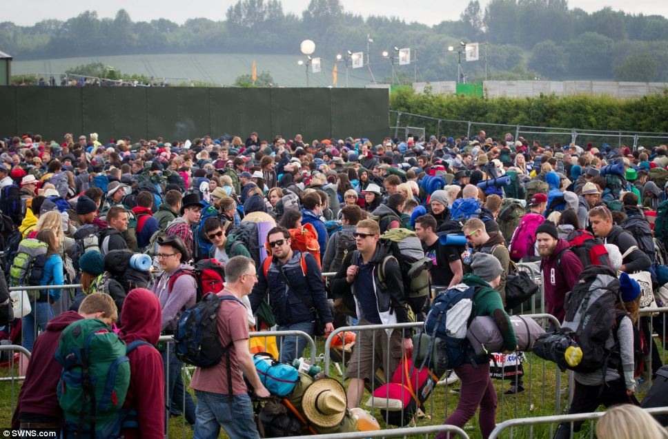 Queues formed bright and early at Glastonbury today ahead of the festival which had a break last year as organiser Michael Eavis feared that there may be a shortage of portaloos and police with the Olympics