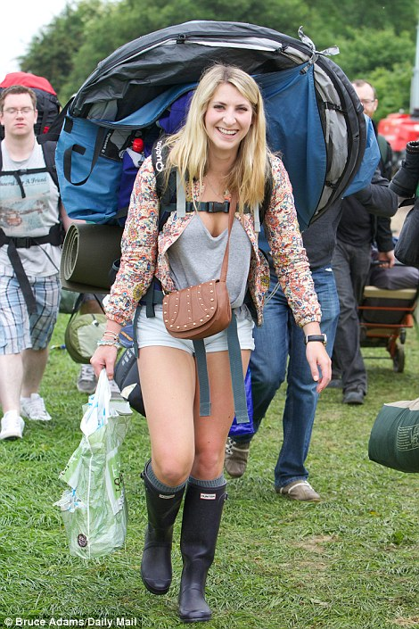 Cassie Holden, 21, from Nottingham, arrived in hot pants and the ubiquitous wellies
