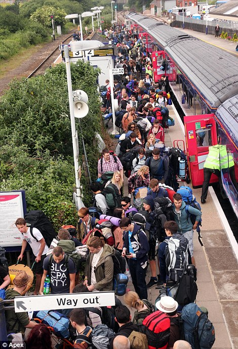 All change! Hundreds of people bound for Glastonbury alighted at Castle Cary