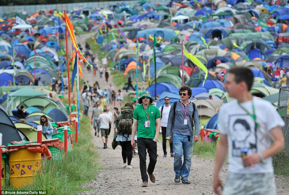 Rows of tents: Glastonbury has turned into a mud-bath in previous years after incessant rain but the 2013 forecast is good