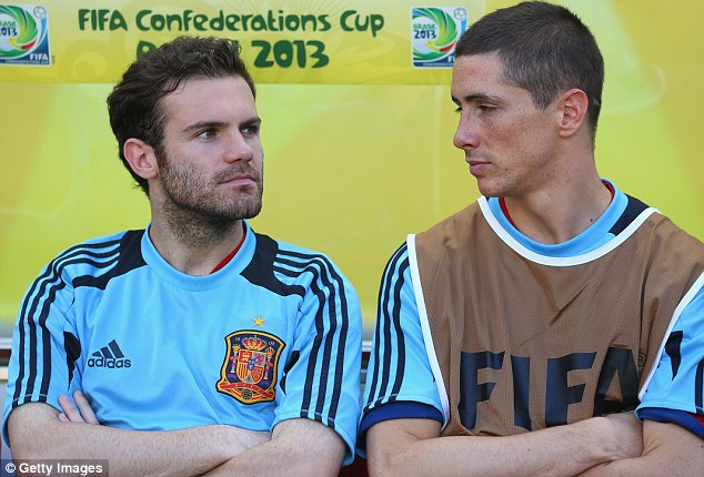 Set to stay: Chelsea and Spain pair Mata, who scored for his country against Tahiti (below), and Torres both wish to remain at Chelsea