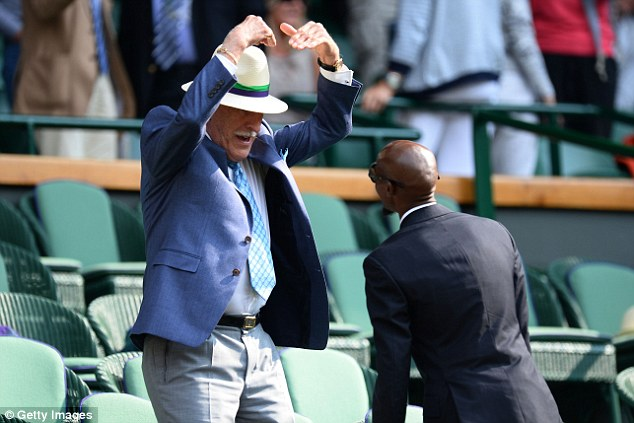 Getting involved: Even Sir Bruce Forsyth performed the Mobot for Mo Farah on Centre Court during day three