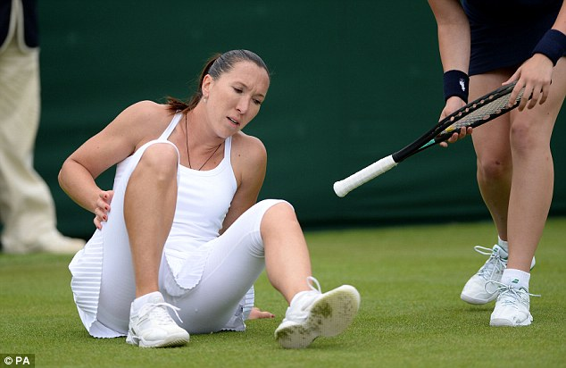 Not impressed: Jankovic was clearly worried after her fall
