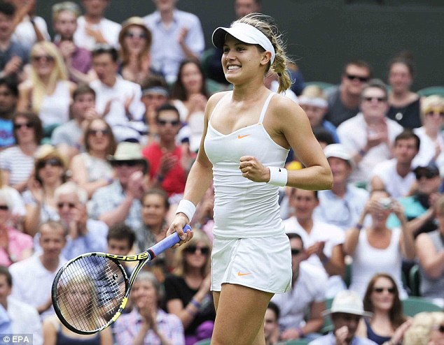 Crash landing: Canada's Eugenie Bouchard found it hard to stay on her feet