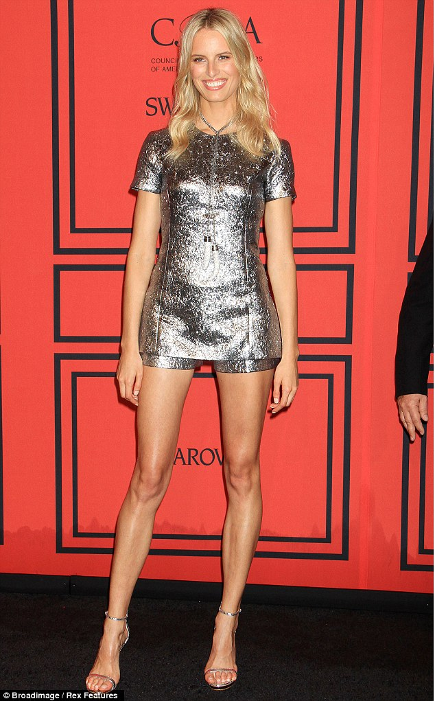 Long-legged beauty: The former Victoria's Secret model strutted her long legs down the carpet to attend the CFDA Fashion Awards in New York on June 3