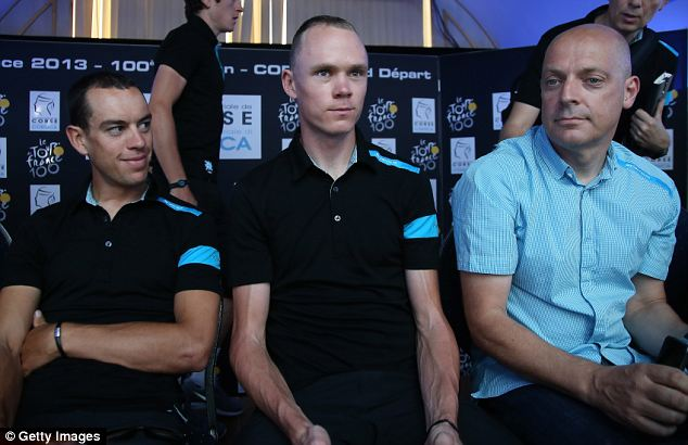 Challenge: Chris Froome (centre) and team manager Sir Dave Brailsford (right)