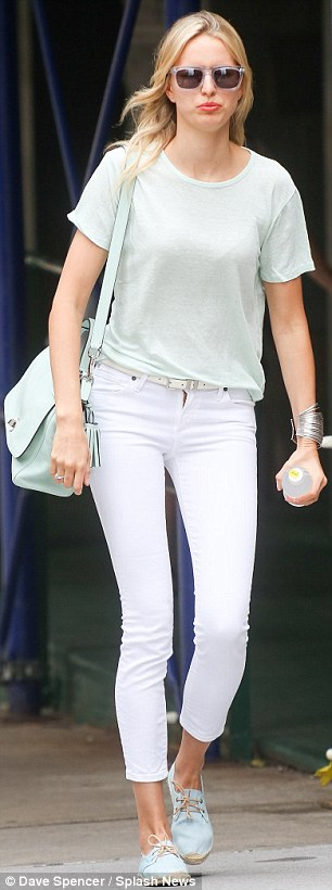 Super slim: Karolina Kurkova paraded her famous pins in two pairs of super-tight jeans on Wednesday