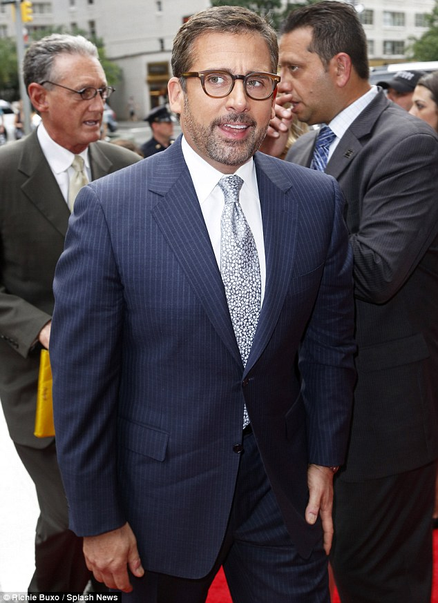 Suited and booted: Funny man Steve Carell wore a pinstripe blazer and trousers