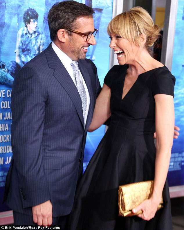 A lot of laughs: The pair giggled to each other as they socialised before the movie began