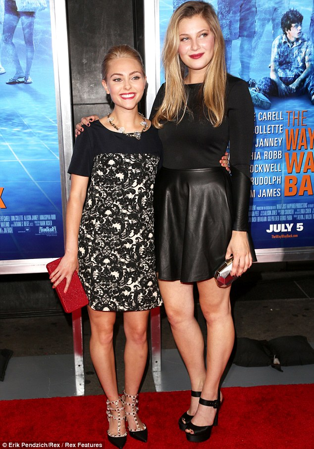Golden girls: She posed with fellow blonde actress Zoe Levin at the bash