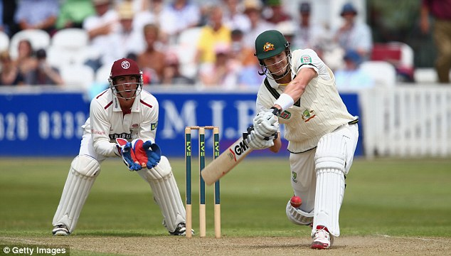 Playing his shots: Shane Watson hit a quickfire half-century on the morning of day two