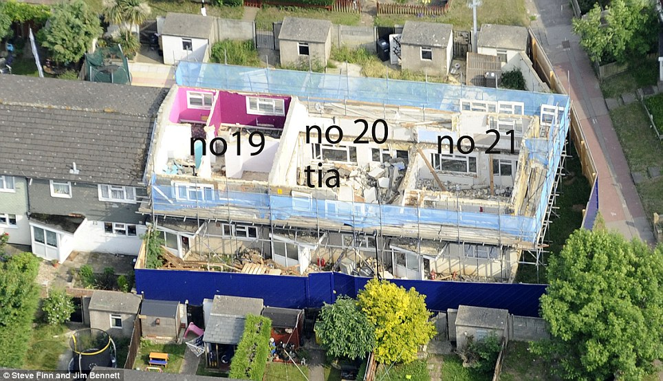 Bird's eye view: This picture shows how the council has been pulling the houses down from the loft downwards with Tia's home in the centre