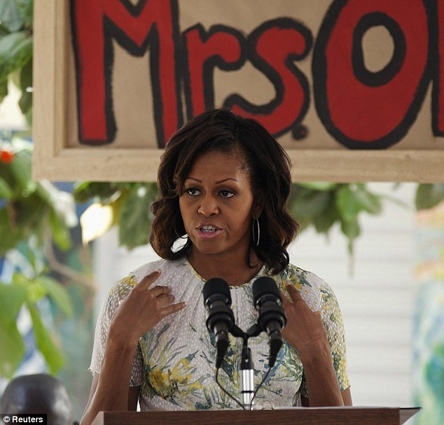 Sharing her knowledge: Mrs Obama gave a speech at the school