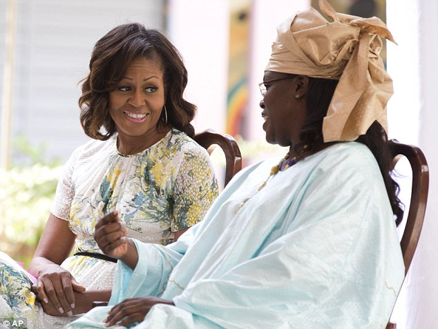Sharing notes: The First Lady sits and talks with her Sengalese counterpart Marieme Faye Sall