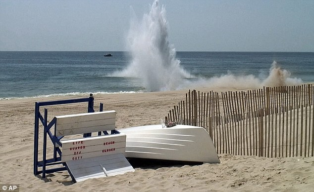 Sandy surprises: Bay Head Beach photographed during the explosion carried out by the Navy. The mine may have been uncovered due to Superstorm Sandy late last year