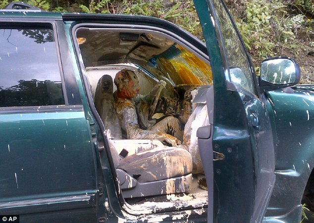 Mess: A driver was covered in paint when he crashed on a Washington highway on Tuesday