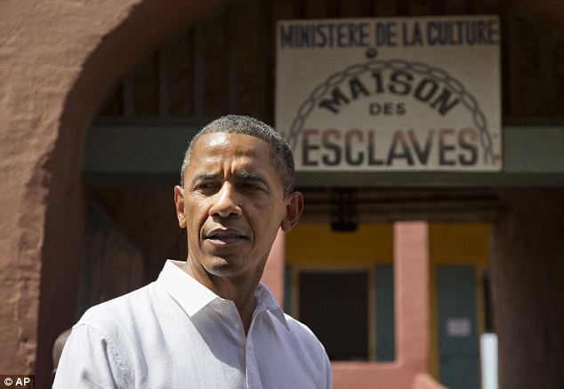 Facing history: President Obama took a tour of Goree Island outside of Dakar, Senegal where slaves used to be depart on boats bound for America in the late 18th century