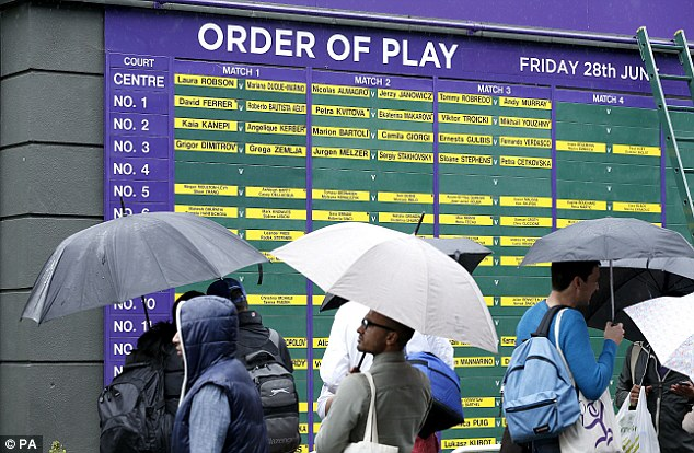 Optimists: Fans brave the rain to check the order of play at Wimbledon