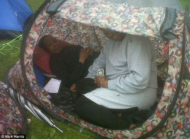 Committed: Carol Joseph (left) and Samantha Farrell camped out in The Queue for tickets tomorrow