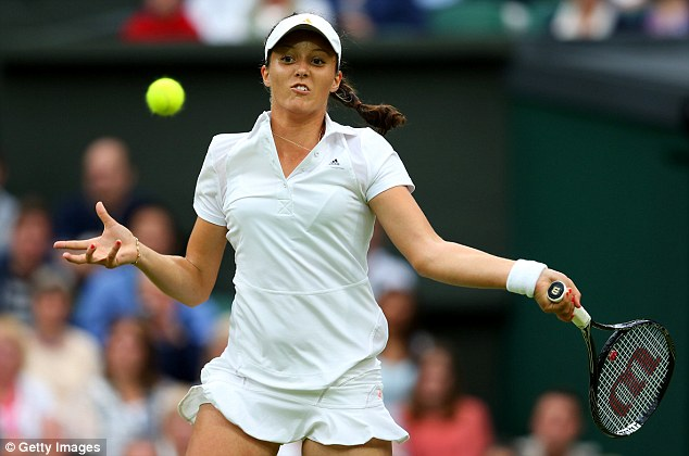 Concentration: Laura Robson returns the ball during the first set of her second round match