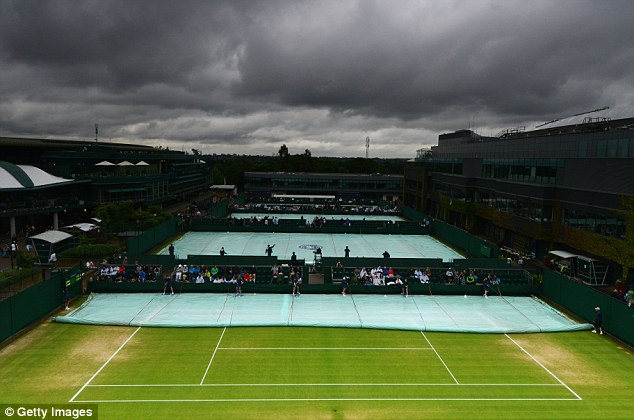 Ominous! Black clouds loom over the courts at Wimbledon