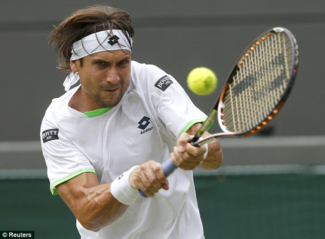 On course: Number four seed, David Ferrer, won the first set against Roberto Bautista Agut on Court One