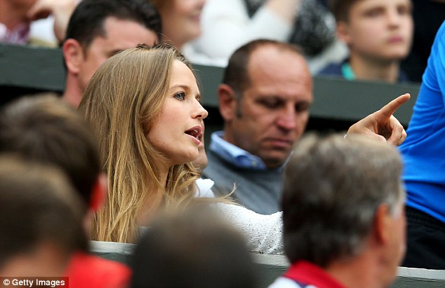 Arriving court side: Kim Sears takes her seat at Centre Court to watch boyfriend Andy Murray