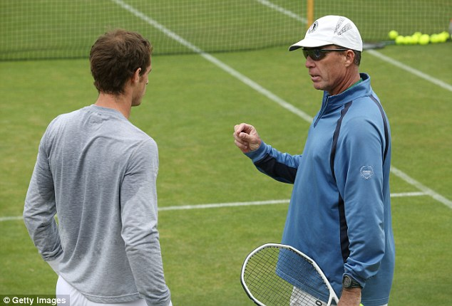 Preparation: Murray practiced at Wimbledon with his coach Ivan Lendl on Thursday