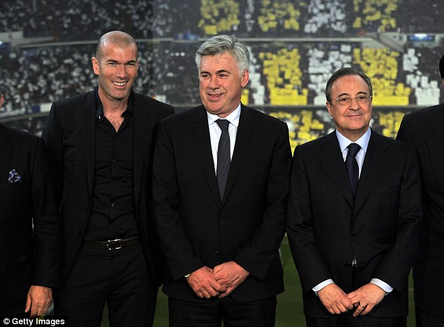 New in town: Carlo Ancelotti (centre) was appointed as Mourinho's replacement in Madrid