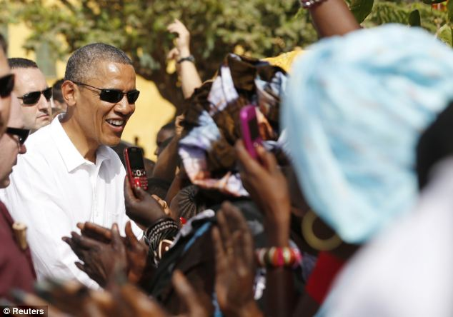 Obama is on a three-country tour of Africa, seen at Goree Island near Dakar, Senegal, yesterday where African slaves in past centuries were shipped west